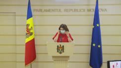 Briefing de presă susținut de Vicepreședintele Parlamentului Republicii Moldova, Monica Babuc, care conduce grupul de lucru parlamentar privind începerea anului de studiu în sistemul național de educație în condiții de pandemie