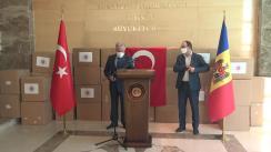 Ceremonia de transmitere a lotului de asistență materială ce include echipament medical de protecție, oferit Republicii Moldova de către Republica Turcia, în contextul combaterii pandemiei COVID-19