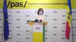 """Briefing de presă susținut de Lidera Partidului Acțiune și Solidaritate, Maia Sandu, cu tema """"Avertisment pentru Igor Dodon"""""""