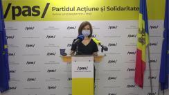 Briefing de presă susținut de Lidera Partidului Acțiune și Solidaritate, Maia Sandu