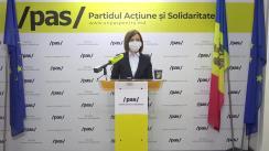 """Briefing de presă susținut de Lidera Partidului Acțiune și Solidaritate, Maia Sandu și deputatul PAS, Sergiu Litvinenco, cu tema """"Cerem CEC să asigure o campanie corectă și transparentă"""""""