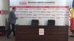 """Conferință de presă organizată de Partidul Politic ȘOR cu tema """"Organele de stat creează un precedent periculos pentru activitatea partidelor politice în campania electorală"""""""