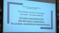 """Conferință de presă organizată de Asociația Sociologilor și Demografilor din Republica Moldova cu tema """"Rezultatele studiului sociologic Vox Populi, octombrie 2020 II: Situația socio-politica din Republica Moldova în ajunul alegerilor prezidențiale"""""""