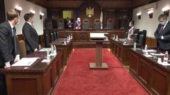 Ședința Curții Constituționale de examinare a sesizării privind controlul constituționalității articolului 12 aliniatele (7) și (8) din Legea securității  statului nr. 618 din 31 octombrie 1995