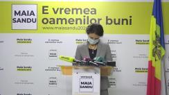 Briefing de presă susținut de candidatul Partidului Acțiune și Solidaritate la funcția de președinte, Maia Sandu, și Olesea Stamate
