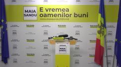 Briefing de presă susținut de candidatul Partidului Acțiune și Solidaritate la alegerile prezidențiale, Maia Sandu