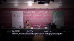 """Conferința de presă organizată de Asociația pentru Democrație Participativă ADEPT cu tema """"Turul II ale alegerilor prezidențiale: promisiunile candidaților versus atribuții prezidențiale"""""""