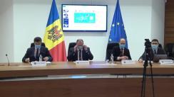 """Conferință de presă susținută de Ministrul Afacerilor Externe și Integrării Europene din Republica Moldova, Aureliu Ciocoi, și președintele Comisiei Electorale Centrale, Dorin Cimil, pe tema """"Alegerile prezidențiale – votul în străinătate"""""""