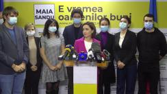 Briefing de presă susținut de candidatul PAS la funcția de președinte, Maia Sandu