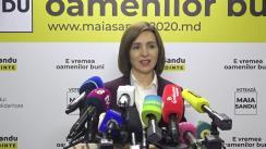 Briefing de presă susținut de Maia Sandu