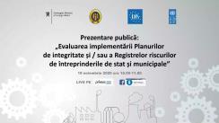 """Prezentarea publică """"Evaluarea implementării Planurilor de integritate și/sau a Registrelor riscurilor de către întreprinderile de stat și municipale"""""""