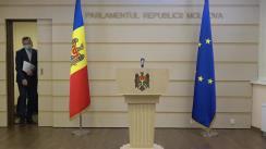 Briefing de presă susținut de către deputații fracțiunii Platforma DA, Vasile Năstase și Dinu Plîngău