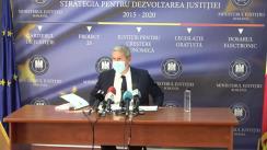 Conferință de presă susținută de ministrul Justiției, Cătălin Predoiu, referitoare la proiectul de lege privind statutul personalului de specialitate judiciară și al altor categorii de personal din cadrul instanțelor judecătorești