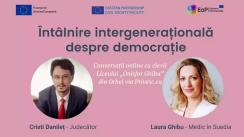 """Întâlnire intergenerațională despre democrație cu Cristi Danileț și Laura Ghibu la Liceul """"Onisifor Ghibu"""" din Orhei"""