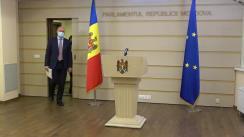 Briefing de presă susținut de fracțiunea Partidului Democrat din Moldova în timpul ședinței Parlamentului Republicii Moldova din 3 decembrie 2020