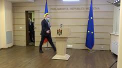 Briefing de presă susținut de fracțiunea PSRM în timpul ședinței Parlamentului Republicii Moldova din 3 decembrie 2020
