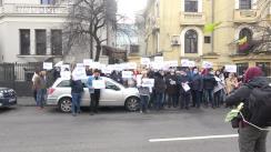 Protest organizat de Partidul Mișcarea Populară în fața Ambasadei Republicii Moldova la București înaintarea unei note de protest cu privire la evenimentele recente de la Chișinău