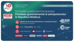 Consultări publice privind lansarea Portalului guvernamental al antreprenorului în Republica Moldova, eveniment organizat de Agenția de Guvernare Electronică și Consiliul Economic pe lângă Prim-ministrul Republicii Moldova