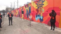 """Evenimentul de inaugurare a picturii murale """"Colorează lumea în oranj"""" realizată pe peretele gardului Regiei Transport Electric Chișinău (RTEC) în cadrul campaniei """"16 Zile de Activism Împotriva Violenței în Bază de Gen"""""""