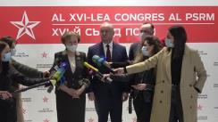 Declarații de presă după cel de-al XVI-lea Congres al Partidului Socialiștilor din Republica Moldova