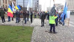 Acțiune de protest în Iași organizată de Sindicatul Polițiștilor de Frontieră față de înghețarea salariilor și pensiilor în 2021