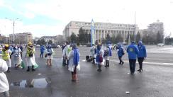 """Protest organizat de Federația """"Solidaritatea Sanitară"""" în Piața Victoriei"""