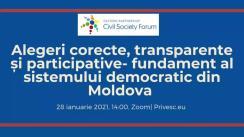 """Dezbaterea online """"Alegerile corecte, transparente și participative - fundament al sistemului democratic din Moldova"""" organizată de Platforma Națională a Forumului Societății Civile din Parteneriatul Estic"""