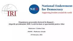 """Masa rotundă virtuală organizată de Institutul Republican Internațional cu tematica """"Organizarea procesului electoral în diasporă: Alegerile prezidențiale 2020 - Lecții învățate și oportunități pentru viitor"""""""