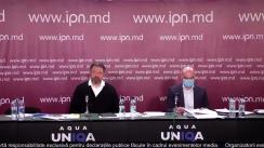 """Conferința de presă cu tema """"Un nou atac raider în Moldova. Judecătoria Ciocana transmite proprietățile private ale omului de afaceri Vladimir Russu în folosința lui Veaceslav Platon sau a companiilor lui, una dintre care figurează în Raportul Kroll"""""""