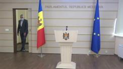 Briefing de presă susținut de către deputații Platforma DA, Chiril Moțpan și Alexandru Slusari, pe tema situației privind rezerva de stat de grâu