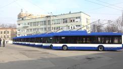 Evenimentul de lansare la linie a 10 troleibuze clasice achiziționate din Belarus și asamblate la Atelierul Regiei Transport Electric Chișinău