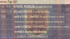 Ședința în plen a Senatului României din 7 aprilie 2021