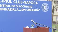 Declaratie de presă susținută de Prim-ministrul României Florin Cîțu, după vizita la Centrul de Vaccinare de la Școala Ion Creangă, Aleea Peana, nr. 4, Cluj-Napoca