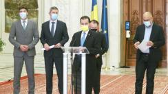Declarații de presă susținute de Președintele PNL, Ludovic Orban, Președintele USR, Dan Barna, Președintele executiv PLUS, Dragoș Tudorache, Președintele UDMR, Kelemen Hunor, și Premierul României, Florin Cîțu, la finalul ședinței de Coaliție