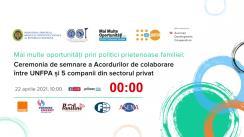 Ceremonia de semnare a Acordurilor de colaborare între UNFPA și 5 companii din sectorul privat
