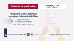 """Conferință de presă online """"Primele emisiuni de obligațiuni municipale în Republica Moldova - contractarea intermediarului financiar"""""""