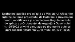 Dezbaterea publică organizată de Ministerul Afacerilor Interne pe tema proiectului de Hotărâre a Guvernului pentru modificarea și completarea Regulamentului de aplicare a Ordonanței de urgență a Guvernului nr.195/2002 privind circulația pe drumurile publice, aprobat prin Hotărârea Guvernului nr. 1391/2006
