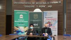 """Conferință de presă organizată de Universitatea de Medicină și Farmacie """"Gr. T. Popa"""" din Iași. Maratonul de vaccinare"""
