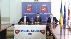 Conferință de presă organizată de Instituția Prefectului Județului Iași, despre măsurile pentru stimularea vaccinarii in județ. Participă Președintele Consiliului Județean Iași, Costel Alexe, și vicepreședintele CJ, Marius Dangă