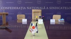Briefing de presă organizat de Confederația Națională a Sindicatelor din Moldova în legătură cu declarațiile membrilor Comisiei de anchetă pentru elucidarea înstrăinării patrimoniului sindicatelor din 10 iunie curent