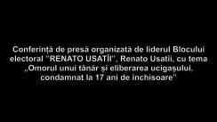 """Conferință de presă organizată de liderul Blocului electoral """"RENATO USATÎI"""", Renato Usatîi, cu tema """"Omorul unui tânăr și eliberarea ucigașului, condamnat la 17 ani de închisoare"""""""