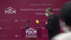Conferință de presă susținută de președintele Partidului Dezvoltării și Consolidării Moldovei, Ion Chicu