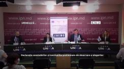 """Conferința de presă organizată de ENEMO (Rețeaua Europeană a Organizațiilor de Monitorizare a Alegerilor) Misiunea Internațională de Observare a Alegerilor Anticipate Parlamentare din Moldova, cu tema """"Declarația constatărilor și concluziilor preliminare de observare a alegerilor"""""""