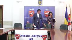 Conferință de presă organizată de președintele Consiliului Județean Iași, Costel Alexe, cu ocazia semnării contractului pentru studiul tehnico-economic necesar construirii viitorului Spital Clinic de Boli Respiratorii din Iași