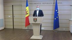 Briefing de presă susținut de deputații PSRM, Vlad Batrîncea și Vasile Bolea, după ședința Parlamentului Republicii Moldova din 26 iulie 2021