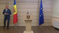 Briefing de presă susținut de deputatul Blocului Comuniștilor și Socialiștilor, Igor Dodon, în timpul ședinței Parlamentului Republicii Moldova din 13 august 2021