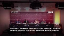 """Conferință de presă organizată de Centrul de Informare și Documentare privind NATO în Moldova cu genericul """"Prezentarea rezultatelor sondajului cu privire la percepția populației cu privire la sistemul de securitate și apărare al Republicii Moldova"""""""