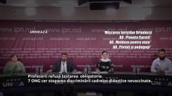 """Conferință de presă cu tema """"Profesorii refuză testarea obligatorie. 7 ONG cer stoparea discriminării cadrelor didactice nevaccinate"""""""