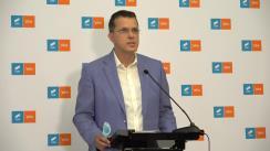 Declarații de presă susținute de liderul grupului USR PLUS, Ionuț Moșteanu