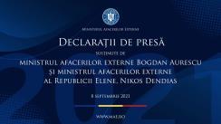 Declarații de presă susținute de către ministrul afacerilor externe Bogdan Aurescu și ministrul afacerilor externe al Republicii Elene Nikos Dendias